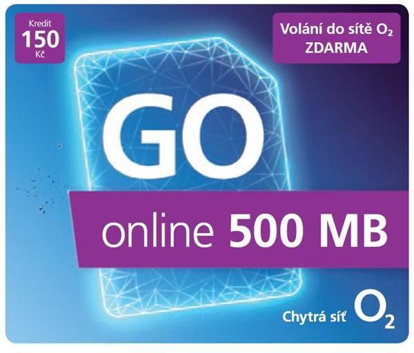 O2 Předplacený mobilní internet GO online 500MB (SMALLGO.150VON40)