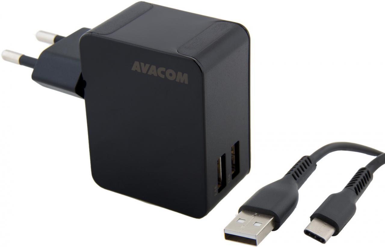 Fotografie AVACOM HomeNOW síťová nabíječka 3,4A se dvěma výstupy, černá barva (USB-C kabel)