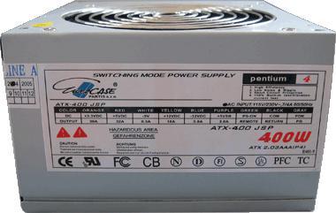 Fotografie EUROCASE zdroj 400W, 12cm fan, PFC ATX 20/24pin, 2x SATA