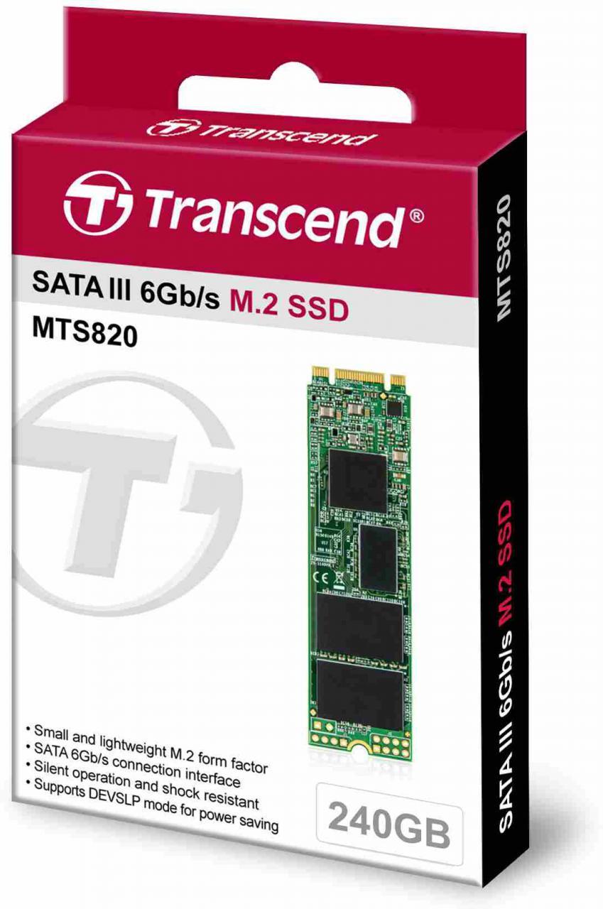 Transcend SSD MTS820 240GB, M.2 2280, SATA III 6Gb/s, TLC (TS240GMTS820S)