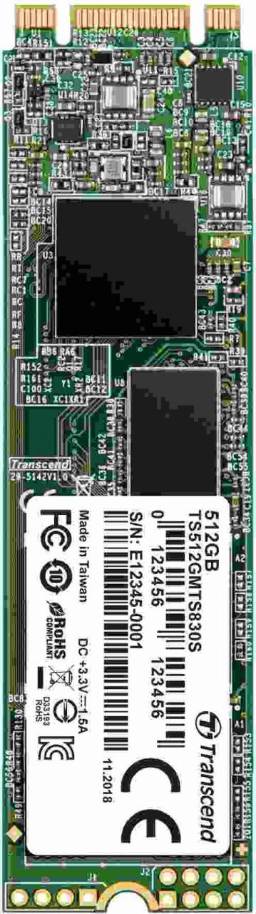 Transcend SSD MTS830S 512GB, M.2 2280, SATA III 6Gb/s, TLC, bulk (TS512GMTS830S)