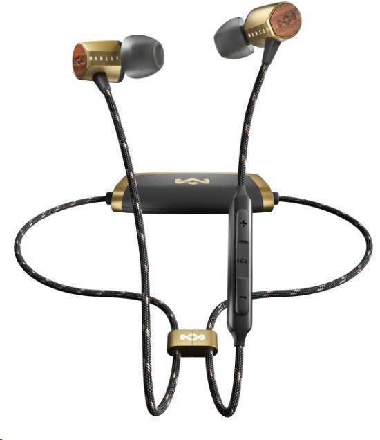 MARLEY Uplift 2 Wireless BT - Brass, bezdrátová sluchátka do uší s ovladačem a mikrofonem (SLCMA0174)