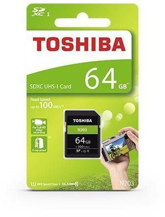Toshiba SDXC 64GB paměťová karta UHS-I (U1) (100MB/s) N203, Class 10 (THN-N203N0640E4)