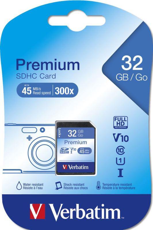 Verbatim SDHC 32GB paměťová karta PREMIUM UHS-I (U1) (45MB/s), V10, Class 10 (43963)