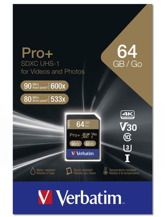 Verbatim SDXC 64GB paměťová karta PRO+ UHS-I (U3) (90MB/s), Class 10 (49197)