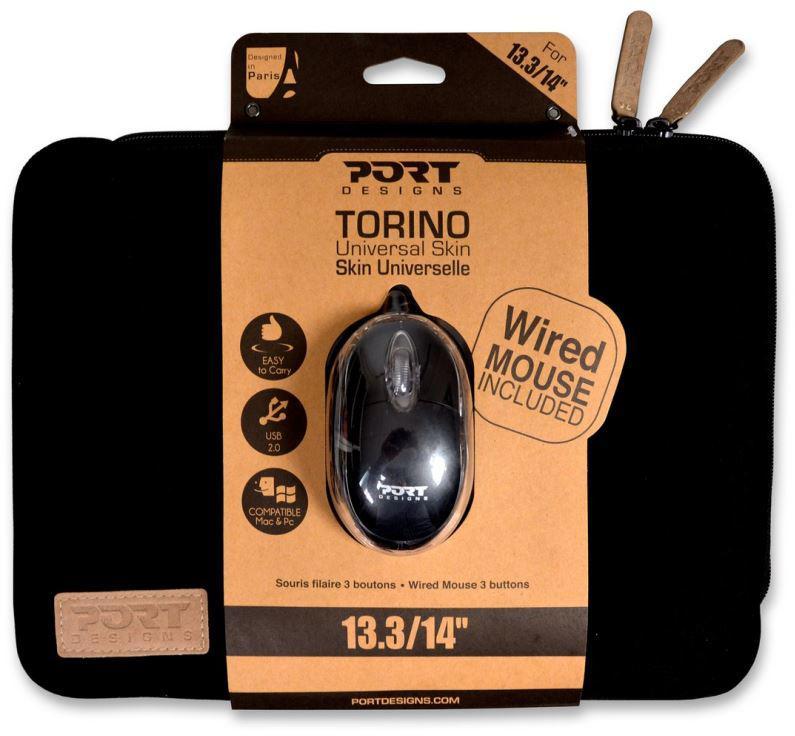 """PORT DESIGNS TORINO pouzdro na 13,3/14"""" notebook + WB MOUSE, černé (501777)"""