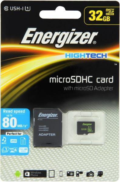Fotografie Energizer SDHC 32GB High Tech micro paměťová karta UHS-I (U1) (80MB/s), Class 10 + adapter, černá (FMDAAH032A)