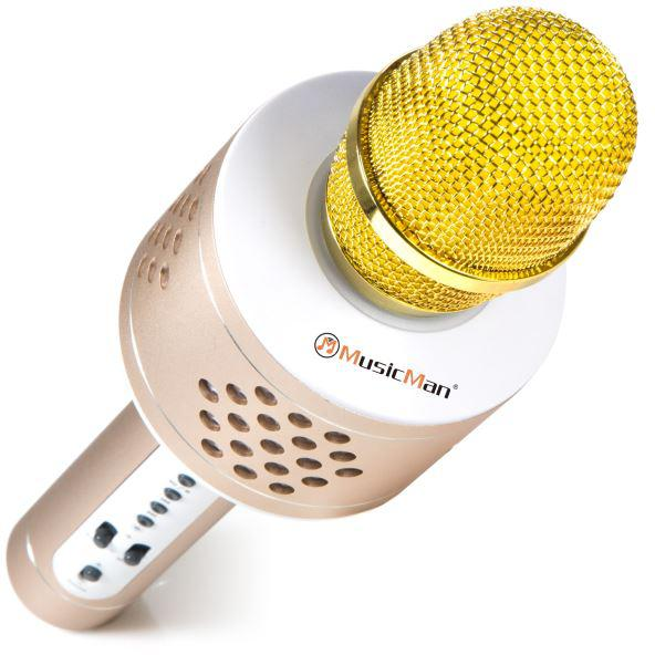 Technaxx PRO bluetooth karaoke mikrofon, 2x3W repro, LED RGB a funkcí TWS, zlatá/stříbrná (BT-X35) (4611)