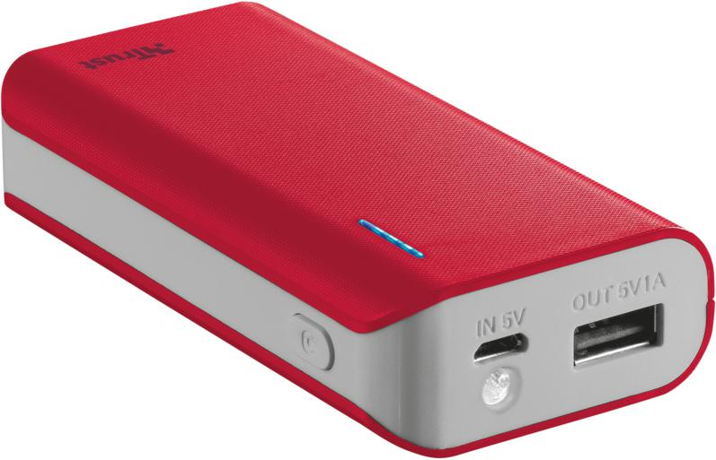 TRUST Primo PowerBank 4400 Portable Charger - red (21226)