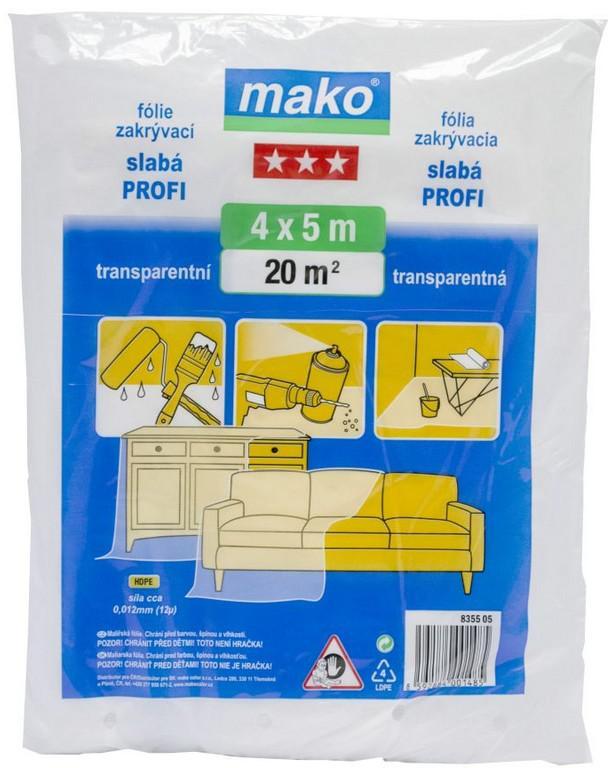 MAKO fólie zakrývací 4x 5m PROFI 12um HDPE (835505)
