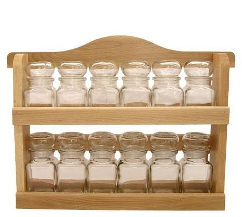 DIPRO polička dřevěná s kořenkami 150ml skl. (12ks) (103-0492)