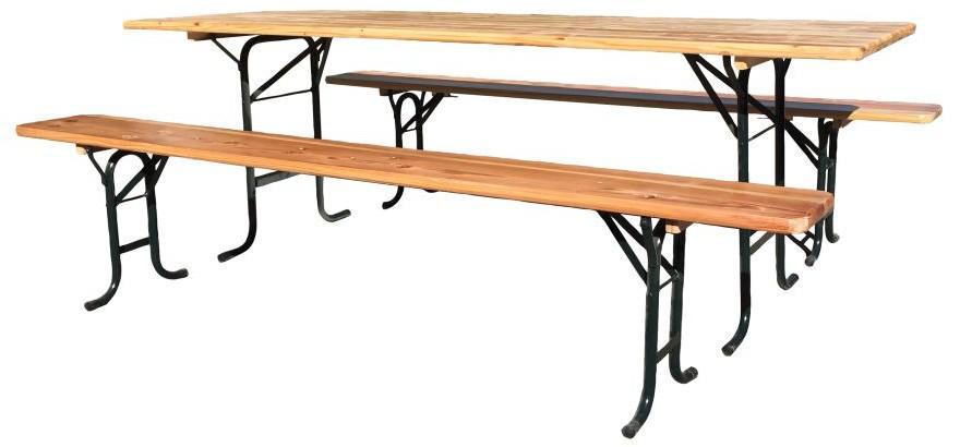 set zahradní pivní dřevo/kov stůl + 2 lavice (D012.227)