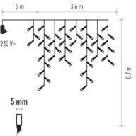 EMOS Vánoční řetěz 200LED - rampouchy 3,6m x 0,7m,warm (1534204900)