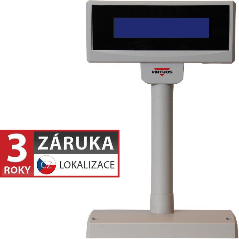VIRTUOS LCD zákaznický displej Virtuos FL-2024MB 2x20, serial (RS-232), 12V, béžový (EJA0003)