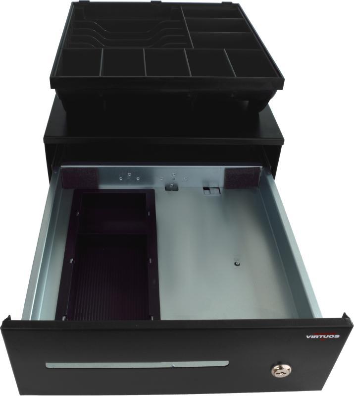 VIRTUOS Pokladní zásuvka SK-325 - bez kabelu, pořadač 6/8, 9-24V, černá (EKN0100)