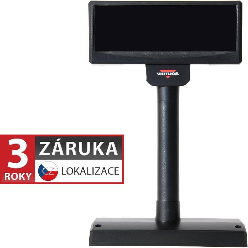 VIRTUOS VFD zákaznický displej Virtuos FV-2029M 2x20 9mm, USB, 12V, černý (EJA1006)