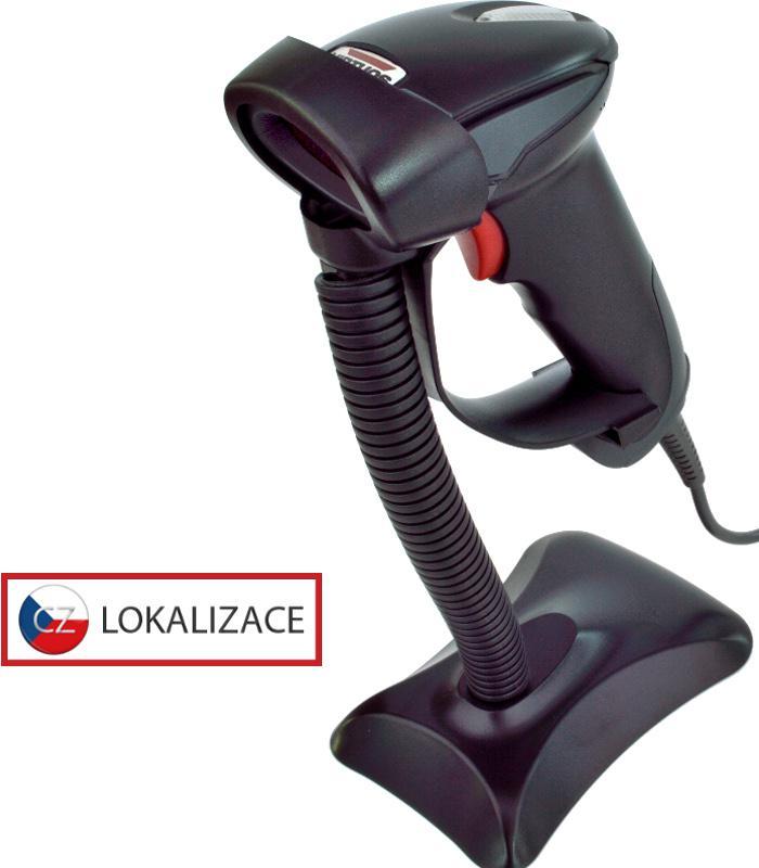 VIRTUOS Laserová čtečka Virtuos HT-900A, USB (klávesnice/RS-232 emulace), stojánek, černá (EH02G0004)